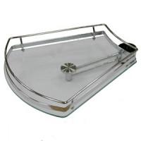 Полка-конус боковая стеклянная PTJ016-29 358x376x100мм хром