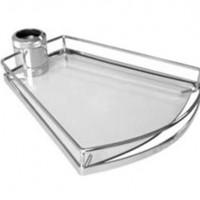 Полка-конус стеклянная PTJ016-15 390x320x75мм хром